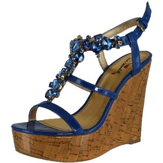 Luichiny Women's Fine N Dandy Wedge Sandals - Dark Blue - 9 b(m) us