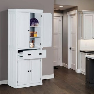 Link to HomCom White Traditional Colonial Style Kitchen Pantry Cabinet Similar Items in Office Storage & Organization