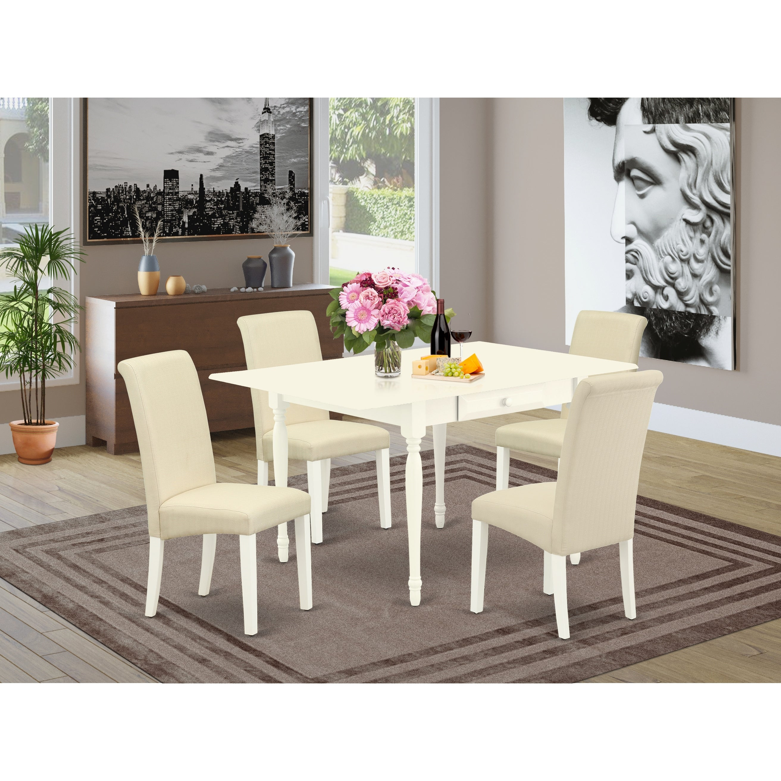 Dinette Table And Parson Dining Chairs With Cream Color Linen Fabric Upholstery Seat Number Of Chairs Option Overstock 32448756