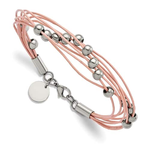 Chisel Stainless Steel Polished Beaded Multi Strand Pink Leather 8-inch Bracelet