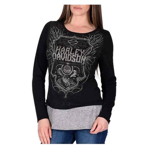 Harley-Davidson Women's Soul Shield Embellished Layered Long Sleeve Top, Black