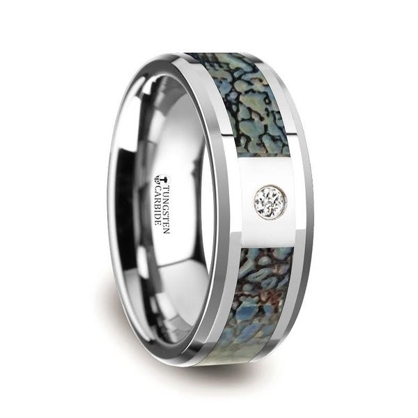 THORSTEN - Blue Dinosaur Bone Inlaid Tungsten Carbide Diamond Wedding Band with Beveled Edges