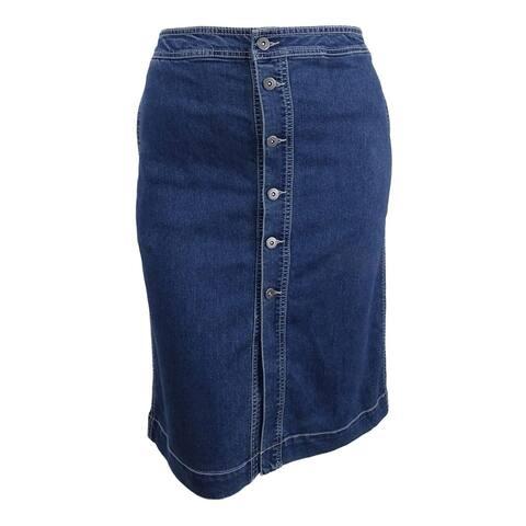 Style & Co. Women's Petite Button-Front Denim Skirt - Caspian