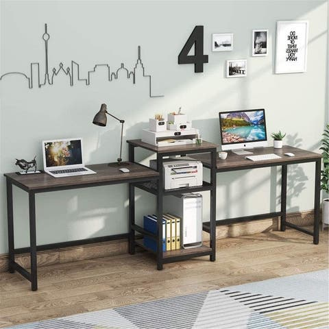 """96.9"""" Double Computer Desk with helf, Extra Long Two Person Desk"""