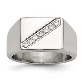 Chisel Stainless Steel Polished Men's CZ Ring (12 mm)
