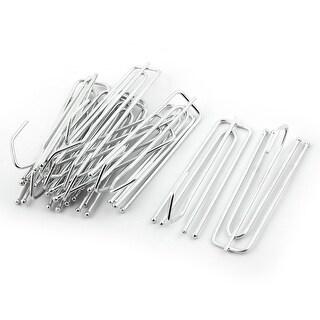 Household Metal Window Drapes Curtain Hanging Hanger Hook Clip 7cm Length 12pcs - Silver