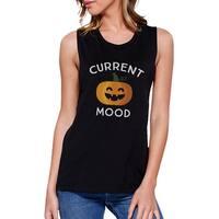 Pumpkin Current Mood Womens Black Muscle T-Shirt Sleeveless Cotton