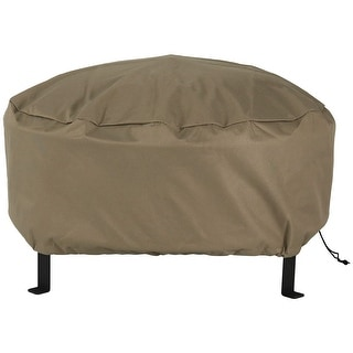 Sunnydaze Durable Weather-Resistant Round Fire Pit Cover - Khaki - 30-Inch