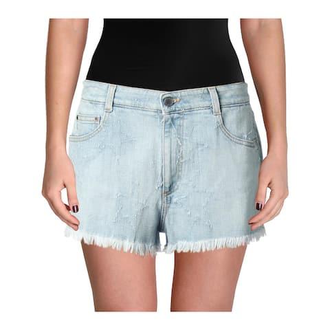 Stella McCartney Womens Stars Denim Shorts Light Wash