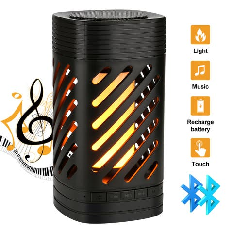 LED Flaming Fire Lamp Portable Wireless Bluetooth Speaker Stereo Rechargeable [Black] - S