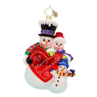 Christopher Radko Glass Merry Christmas from the Frosts Snowman Holiday Ornament #1017192 - WHITE