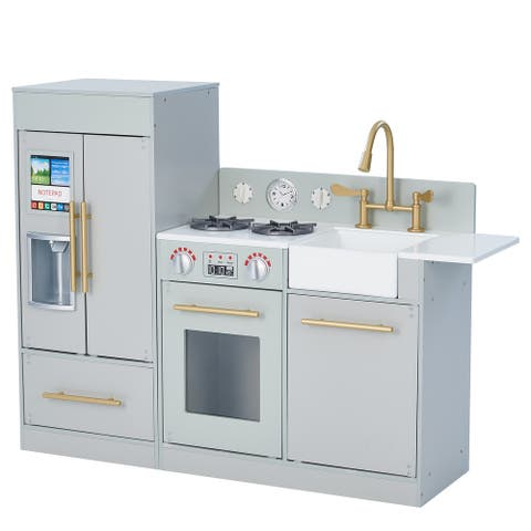 Teamson Kids - Little Chef Chelsea Modern Play Kitchen - Silver Grey / Gold
