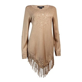 Alfani Women's Sequin Embellished Fringe Trim Tunic Sweater