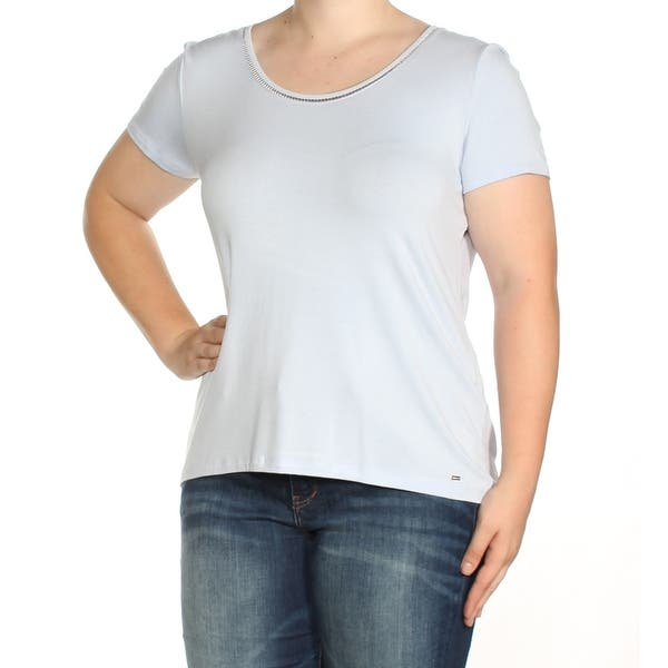 56b5f896 TOMMY HILFIGER Womens Light Blue Short Sleeve Boat Neck Top Size: XL. Image  Gallery