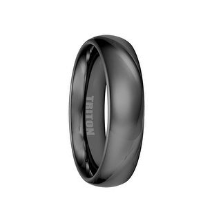 ACHILLES Black Polished Domed Tungsten Ring by Triton Rings - 6mm