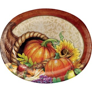 Club Pack of 96 Orange and Red Bountiful Thanksgiving Decorative Oval Plate 12.125""