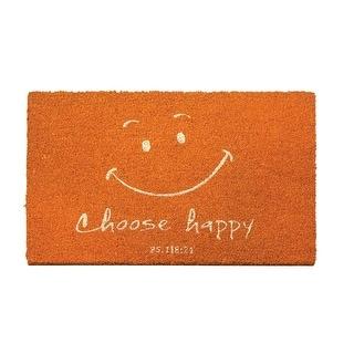 "24"" Orange Smiley Face ""Choose Happy"" Inspirational Coir Fiber Doormat - N/A"