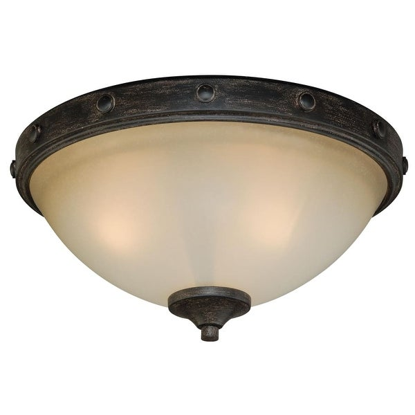 """Vaxcel Lighting C0076 Halifax 2-Light Flush Mount Indoor Ceiling Fixture with Frosted Glass Shade - 14.5"""" Wide - Black Walnut"""