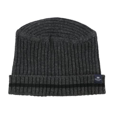 Nautica Mens Two Tone Ribbed Beanie Hat, grey, One Size - One Size