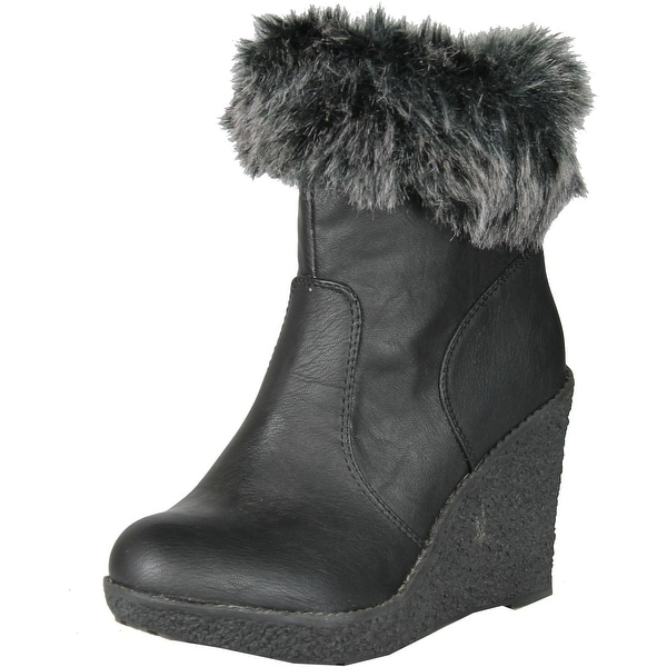 Enigma Womens Bc599 Wedge Boots With Fur Trim