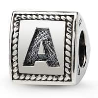 Sterling Silver Reflections Letter A Triangle Block Bead (4mm Diameter Hole)