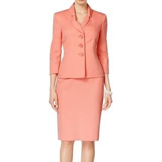 Le Suit NEW Pink Jacquard Women's Size 12 Three-Button Skirt Suit Set