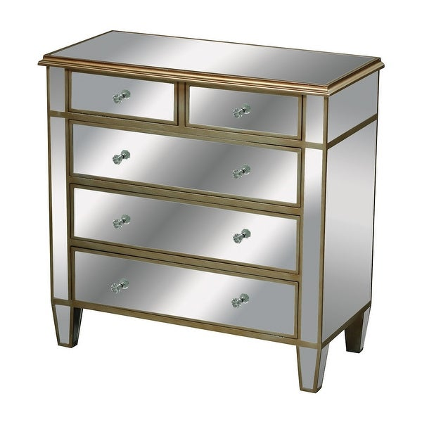 "33"" Silver Leaf and Antique Gold 5-Drawer Mirrored Chest"