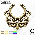 316L Surgical Steel Fake Septum Hanger Triabl Floral Fan with Crystal Center (Sold Ind.) - Thumbnail 0