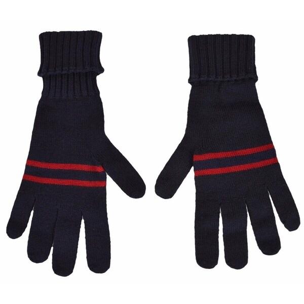 Gucci Men's 294732 Blue Wool Red Web Stripe Gloves Mittens M