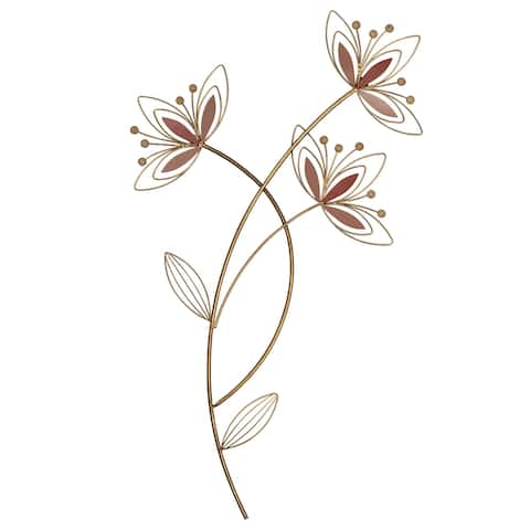 Stratton Home Decor Pink and Gold Floral Metal Wall Decor