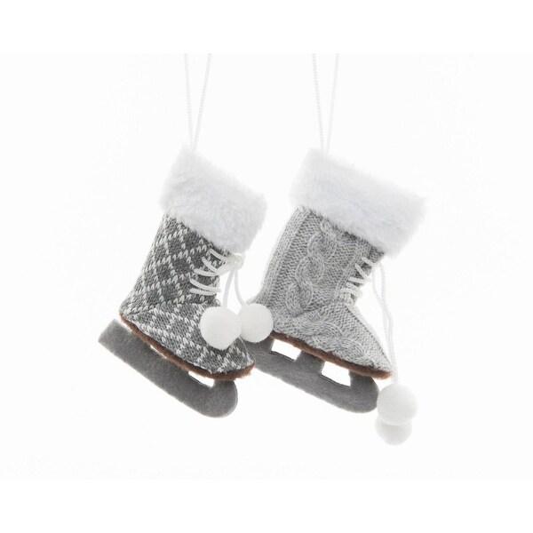 "5"" Alpine Chic Light Gray and White Diamond Patterned Ice Skate Decorative Christmas Ornament"