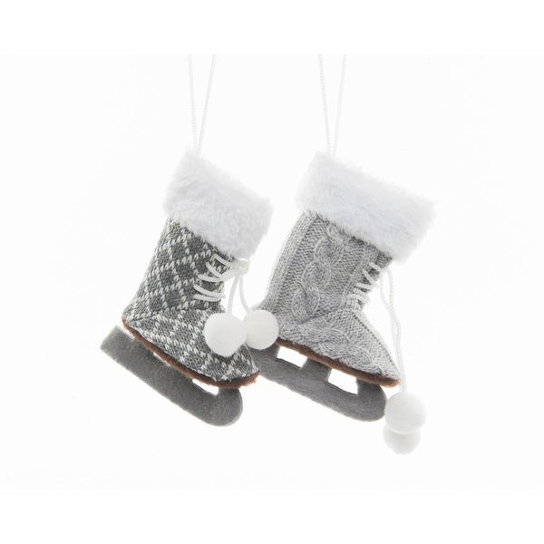 "5"" Alpine Chic Light Gray and White Ice Skate Decorative Christmas Ornament"