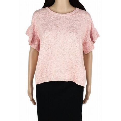Madewell Womens Sweater Rust Orange Size Medium M Ruffle Sleeve Boxy