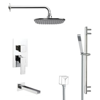 Nameeks TSR9035  Remer Shower Tub and Shower Trim Package with Single Function Rain Shower head and Hand Shower - Chrome