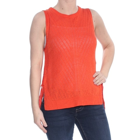 LUCKY BRAND Womens Orange Side Tie Sleeveless Sweater Size: S