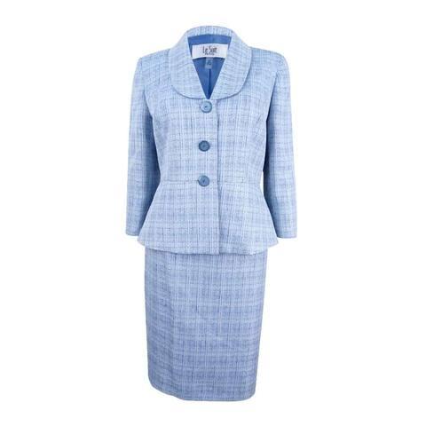 Le Suit Women's Petite Shawl-Collar Cross-Dyed Skirt Suit
