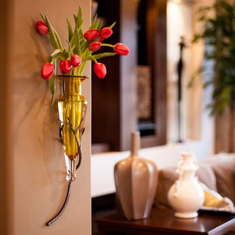 Amber Amphora Vase with Twig Sconce