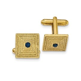 Goldtone Malachite Textured Square Cuff Links