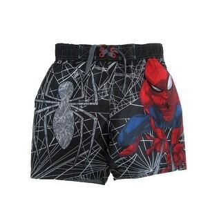 Marvel Little Boys Black Spiderman Swim Shorts