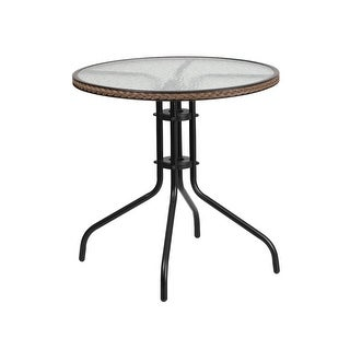 Offex 28'' Round Tempered Glass Metal Table with Dark Brown Rattan Edging