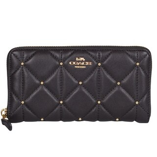 Coach Studded Diamond Black Leather Accordian Zip Around Wallet