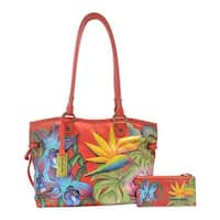 Anuschka Women's Hand Painted Large Drawstring Shopper Island Escape - us women's one size (size none)