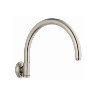 """Grohe 28 383 10"""" Curved Rain Shower Arm with Flange and 1/2"""" Threaded Connection"""