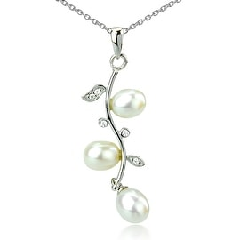 GIG Jewels Sterling Silver White Cultured Freshwater Pearls and CZ Gemstones 18 Inches Leaf Pendant Necklace