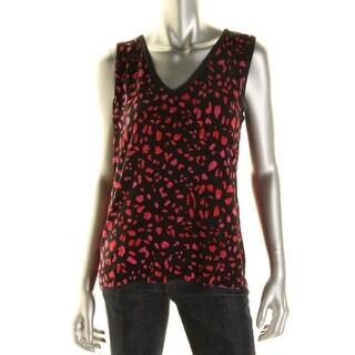 Jones New York Womens Knit Printed Tank Top Sweater - XL