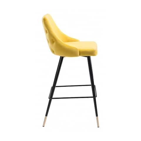 """Offex Piccolo Bar Chair with Footrest & Slim Pencil Legs - Yellow - 20.9""""L x 18.5""""W x 40.6""""H."""