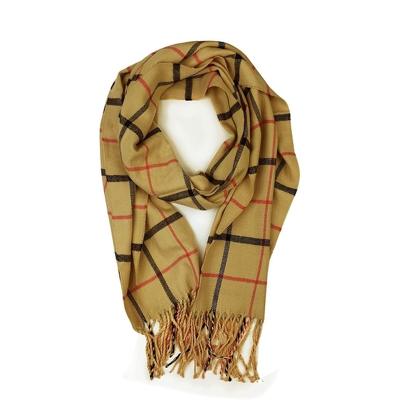 "Super Soft Luxurious Classic Cashmere Feel Winter Scarf - Camel -  72""x12"" with 6"" fringes"