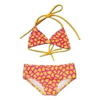 Little Girls Yellow Fuchsia Heart Printed Halter Triangle 2 Pc Bikini Swimsuit