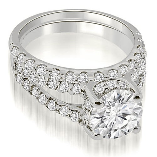 1.36 cttw. 14K White Gold Lucida Cathedral Split Shank Diamond Bridal Set