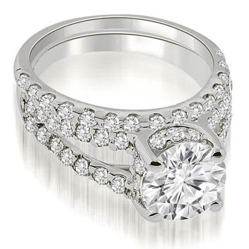 1.61 cttw. 14K White Gold Lucida Cathedral Split Shank Diamond Bridal Set